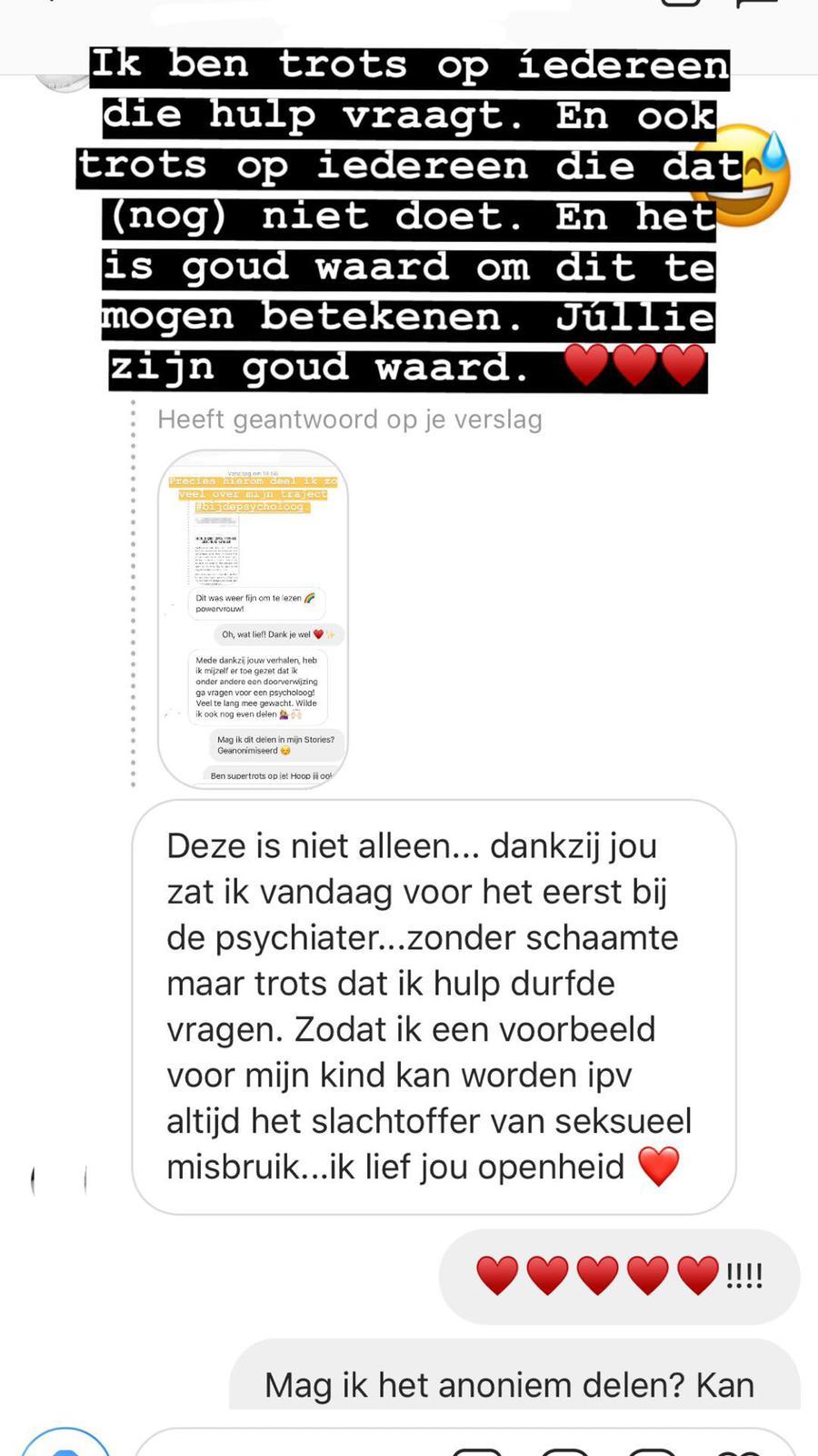 Reactie Instagram #bijdepsycholoog