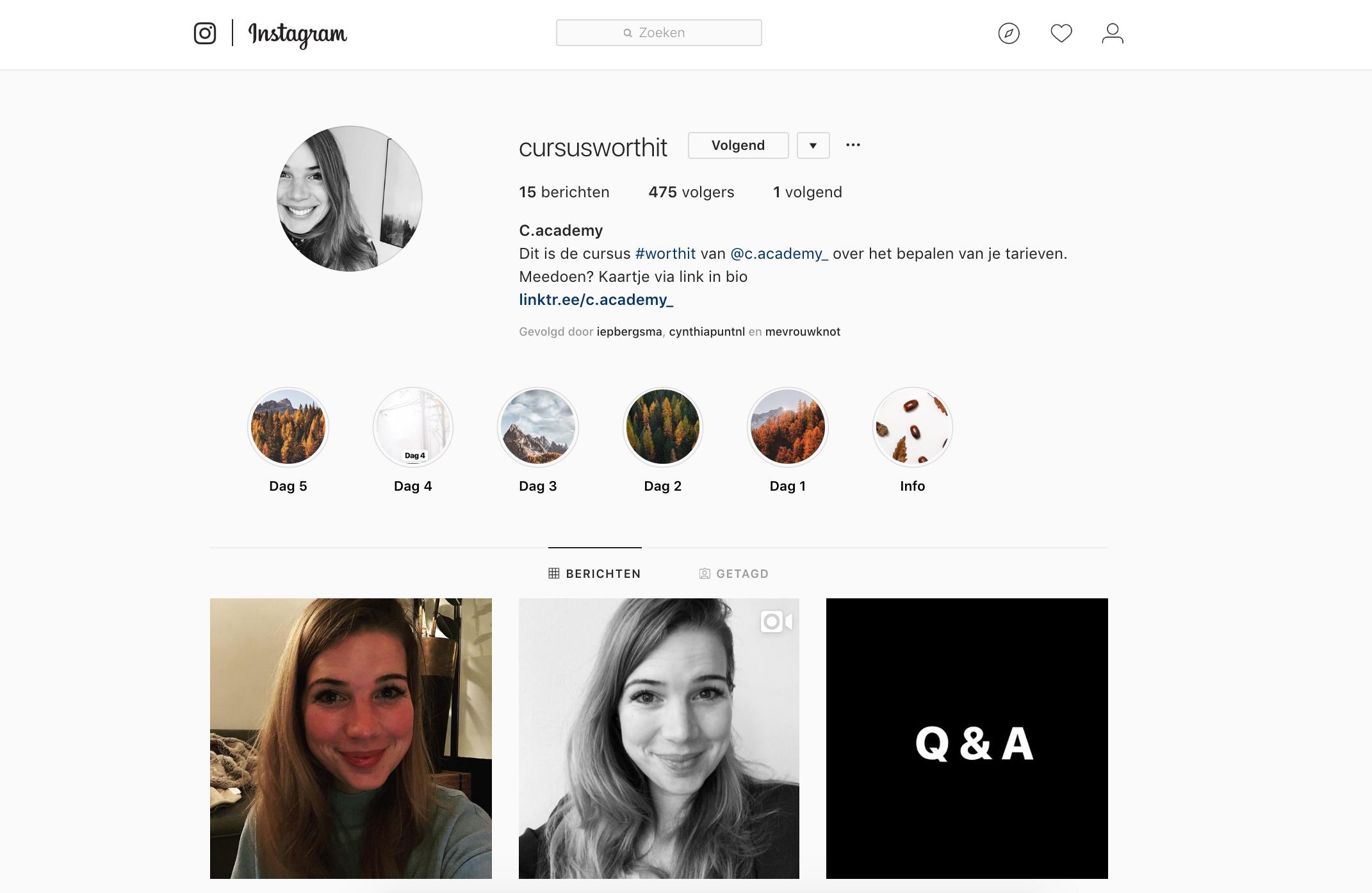 Instagramcursus tarieven bepalen #worthit Charlotte van 't Wout