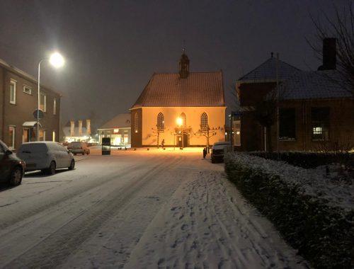 Lobith in de sneeuw