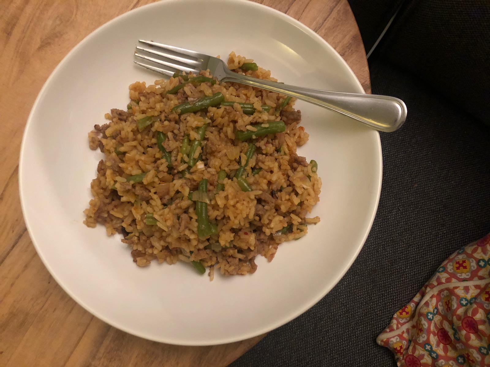 Rijst met pittige sperziebonen