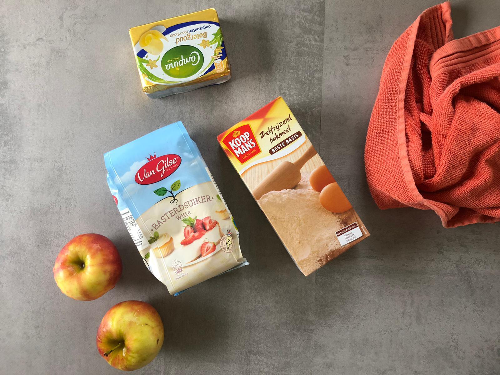 Spullen om appeltaart te bakken