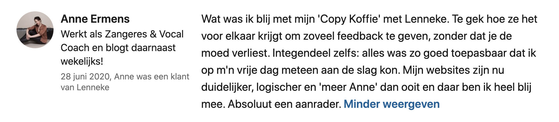Anne Ermens over copy koffie