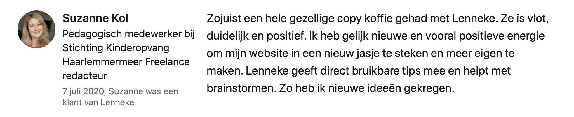 Suzanne Kol over Copy Koffie