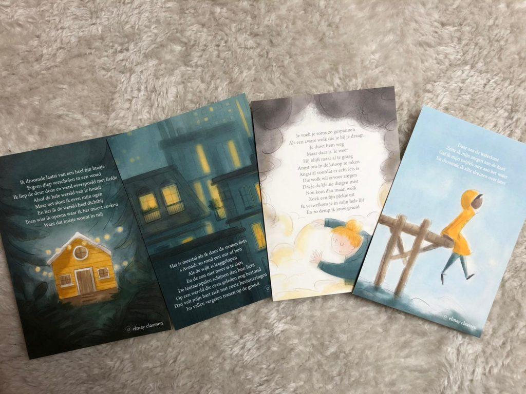 Geïllustreerde kaartjes met gedichtjes van Elmay Claassen